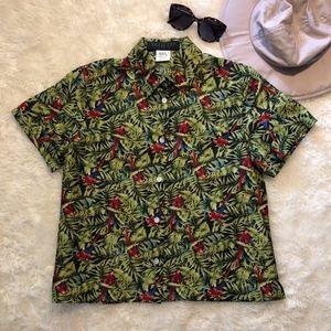 Harve Benard Collection Tropical Parrot Silk Shirt